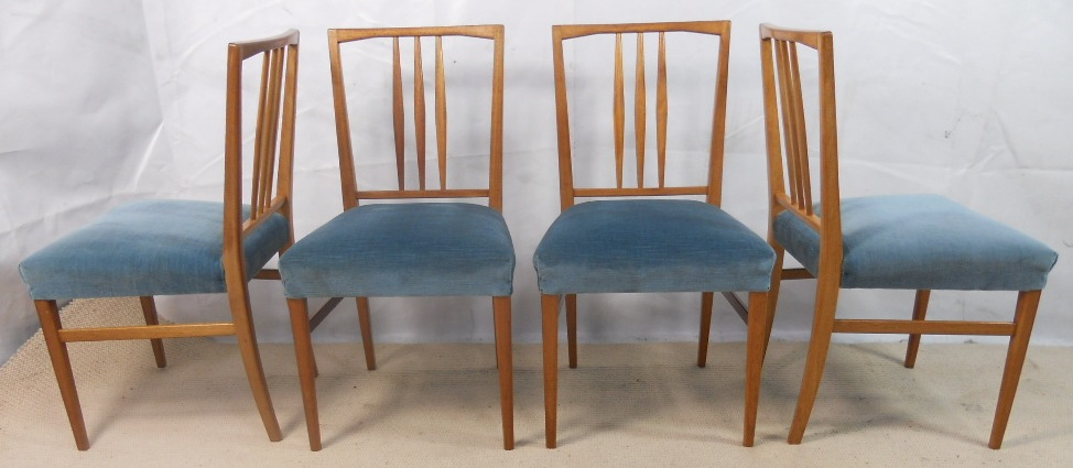 sold set of four 1960 s retro light wood dining chairs by gordon russell 4 1977 p